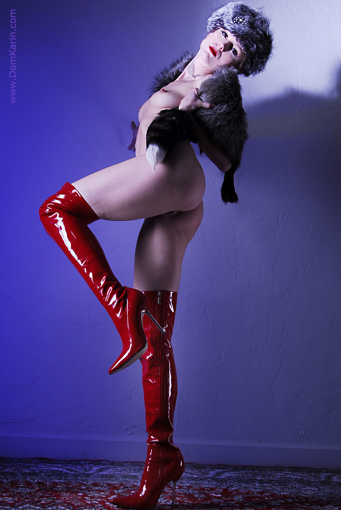 tight red boots