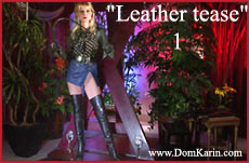 leather boots whipps and leather skirt tease